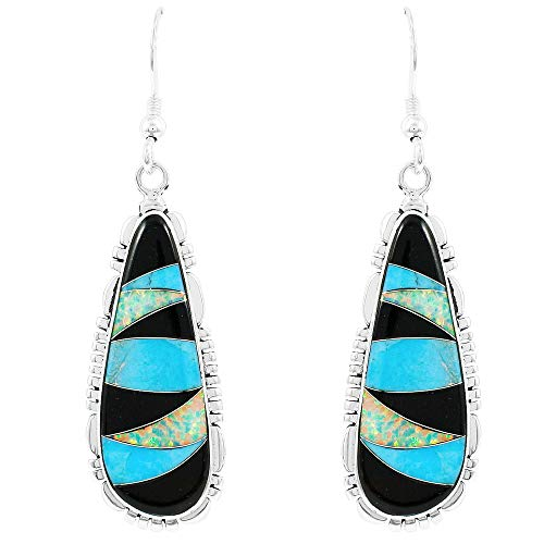 Turquoise Earrings 925 Sterling Silver & Genuine Turquoise (Choose Color) (Multi-39)