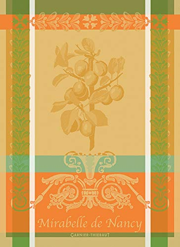 Garnier-Thiebaut, Mirabelle de Nancy, (Cherry Plums), Safran French Jacquard Kitchen/Tea Towel, 100 Percent Cotton - Jacquard Tea Towels