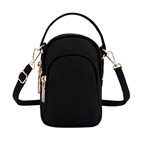 Women 3 Layers Zipper Coin Purse Wristlet Cell Phone Pouch Waterproof Shoulder Bag Tote Handbag with Headphone Hole -
