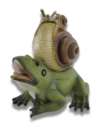 - Things2Die4 Frog with Snail Hitchhikers Statue