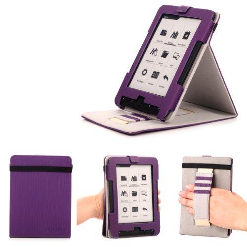 Mulbess Schutzhülle Trekstor eBook Reader 4 ink 4.0 hülle - Ledertasche im Standfunktion & Handschlaufe für eBook eReader Trekstor eBook Reader 4 ink 4.0 Tasche Violett