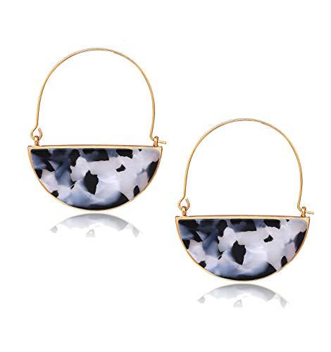 Acrylic Earrings For Women Girls Geometric Circle Resin Drop Dangle Earrings Statement Fan Hoop Earring Tortoise Stud Earrings Fashion Jewelry (Black White) ()