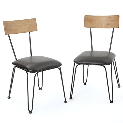 Christopher Knight Home Orval Metal Chairs With Cushions Set Of 2 , Black Brown