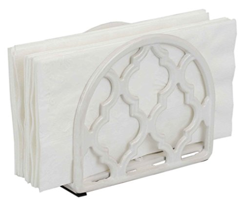 Home Basics Lattice Collection Cast Iron Napkin Holder (White) ()