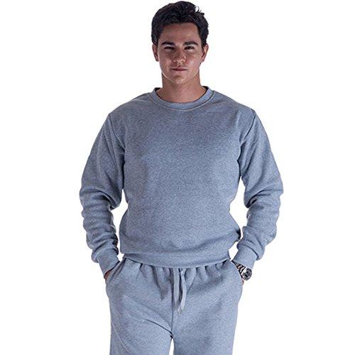 (Sport Men Fleece Sweatshirt Long Sleeve Crewneck Sportswear Outwear Active Sweats Pullover Top)