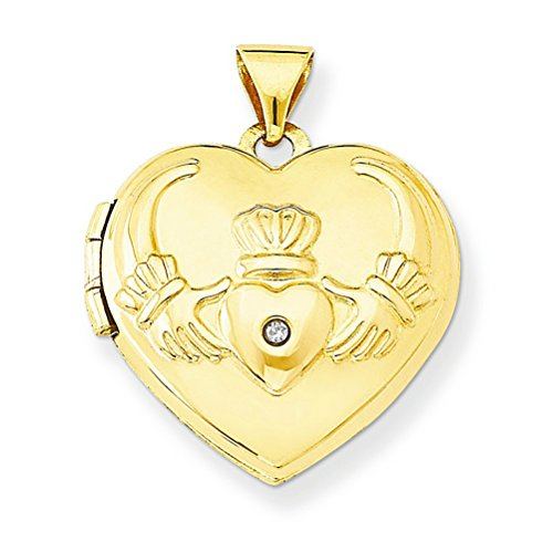 Petite 14k Yellow Gold Diamond Claddagh Heart Locket Pendant by The Men's Jewelry Store (for HER)
