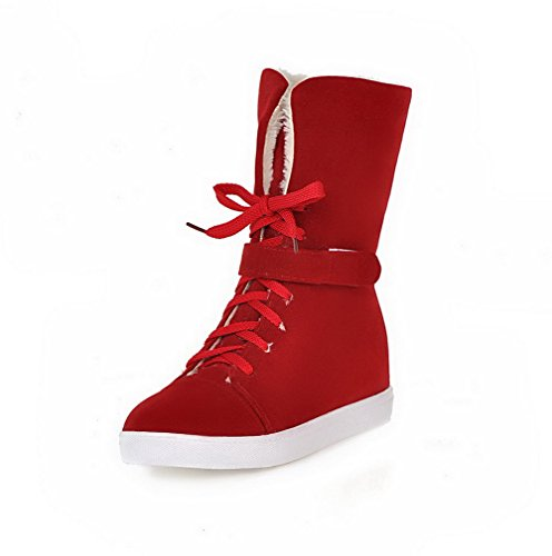 Mid Heels Imitated Low Boots Solid Women's Red Top Lace Allhqfashion Suede up qZxwtfnnzS