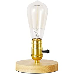 IJ INJUICY Loft Vintage Industrial Wood Table Lights Retro Antique E27 Edison Bulb Wooden Base Desk Accent Lamps for Bedside Living Dining Study Rooms Bedrooms Balcony Home Lighting Decor with Switch
