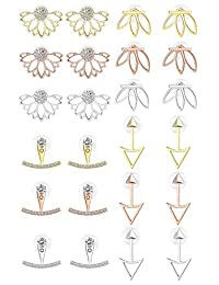 LOYALLOOK 12Pairs Earring Jacket CZ Stud Lotus Flower Earrings Set For Women Girls