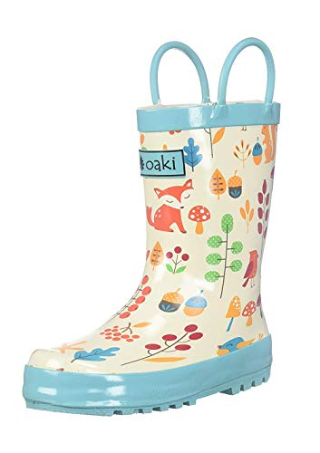OAKI Kids Rubber Rain Boots with Easy-On Handles, Forest Animals, 5T US Toddler