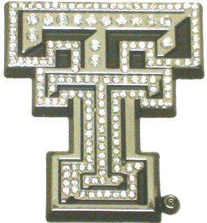 Elektroplate Texas Tech University (TT with Austrian Crystals) Emblem ,Chrome, Crystal ,3 x 2.75 x .125