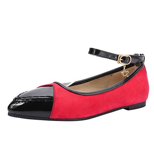 Charme Voet Dames Casual Flat Multicolor Puntschoen Enkelband Pump Schoenen Rood