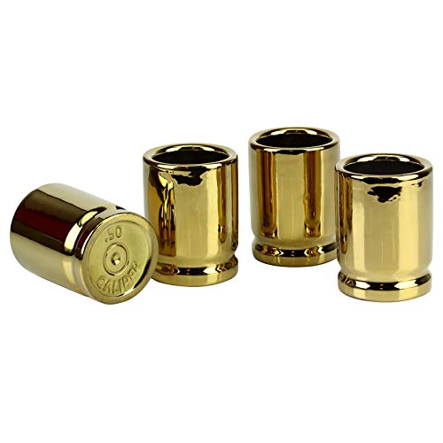 Barbuzzo 50 Caliber Shot Glass - Set of 4 Shot Glasses Shaped like Bullet Casings - Step up to the Bar, Line 'Em Up, and Take Your Best Shot - Great Addition to the Mancave - Each Shot Holds 2-Ounces by Barbuzzo (Image #1)