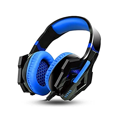 Ashbringer Computer Gaming Headset Pc Games - AS60 Wired Over-ear PC Headphones with Noise Cancelling Volume Control LED Light With Microphone