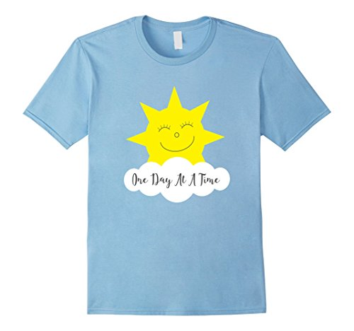 Mens One Day At A Time Cute Happy Sun Cloud T-Shirt Large Baby Blue