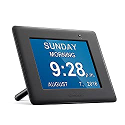 Upgraded with Parts of the Day & Alarm - iGuerburn Digital Talking Family Clock Calendar - Great for the Elderly (Especially Dementia & Vision Impairment) & Kids - Plush-painted Black 8 LED
