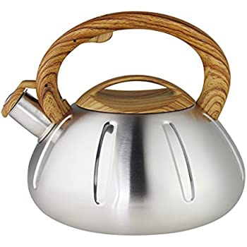 Riwendell Stainless Steel Whistling Tea Kettle 2.6-Quart Stove Top Kettle Teapot