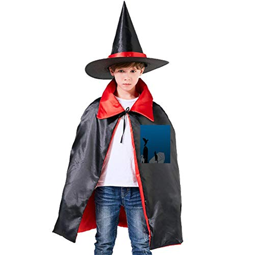Cats and Crows in Graveyards Halloween Shawl and Witch Hat for Children Kids Red]()
