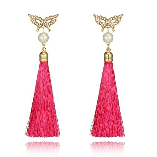 DENER Women Girls Ladies Bohemian Rhinestones Butterfly Long Tassel Ear Clips Stud Hoop Dangle Drop Earrings Eardrop (Hot Pink) (Hot Two Earrings Tone Diamonds)