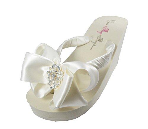 1aff9fe9b Amazon.com  Lace Embellishment   Satin Bow Wedding Flip Flops  Handmade