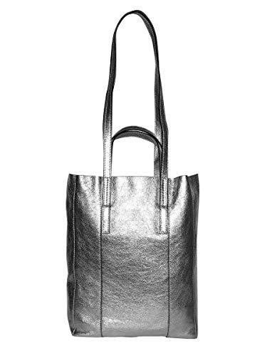 In Pelle Chiarini Tasca Gianni Metallizzata Doppi Borsa Frontale E Manici Con Shopping 6qOawptnaI