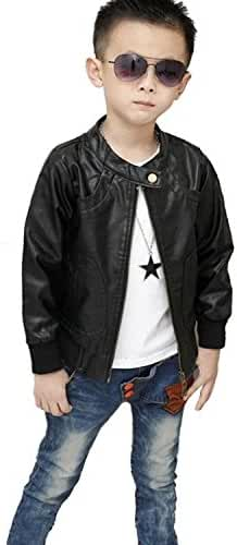 Boy's Fashion Trendy Stand-Collar PU Leather Spring Moto Jacket Outwear Coat