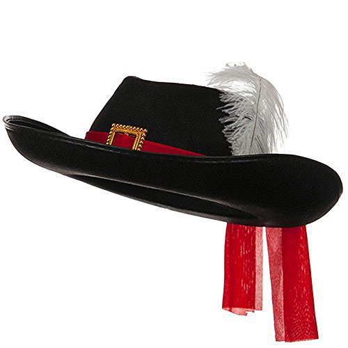 Three Musketeers Black Felt Hat w/ Red Sash & White Feather