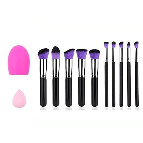 Makeup Brush, Kasi Makeup Brush Set, Cosmetics Synthetic Kabuki Brush,Foundation Blending Blush Eye Face Power Brush Makeup Brush Kit(10+2pieces) (Black silver)