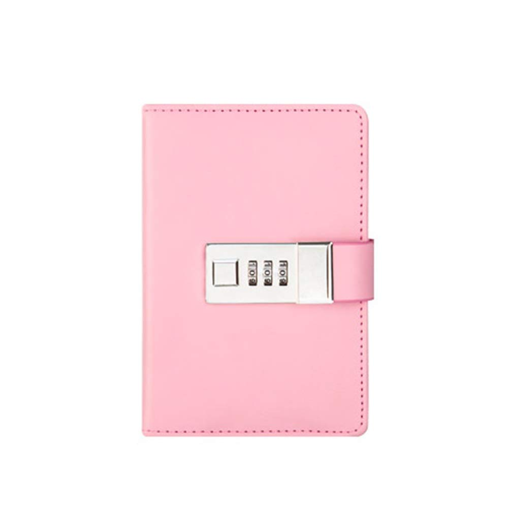 FS Notebook That You Can Carry with You,Diary with Lock,Travel Agenda with Combination Lock,Protect Your Secrets,Can Be Used by People Over 3 Years Old (Color : Pink) by FSBJB