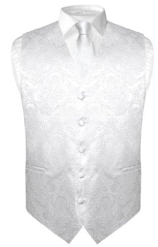 Vesuvio Napoli Men's Paisley Design Dress Vest & NeckTie WHITE Color Neck Tie Set sz 3XL