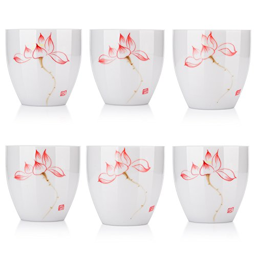 Lotus Teacup Set of 6, Hand-Painted White Porcelain Tea Set (Red) by Tian Che