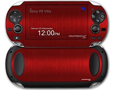 Amazon Com Sony Ps Vita Skin Brushed Metal Red By Wraptorskinz Video Games