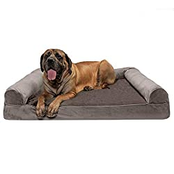 Furhaven Pet Dog Bed | Orthopedic Faux Fur & Velvet Traditional Sofa-Style Living Room Couch Pet Bed w/Removable Cover for Dogs & Cats, Driftwood Brown, Jumbo Plus
