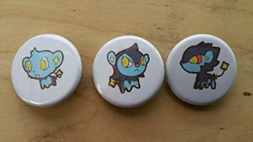 5x Pokemon Collectible 1'' inch Buttons - Shinx Luxio Luxray Evolution Set - Custom Made - Pin Back - Gift Party Favor by Legacy Pin Collection