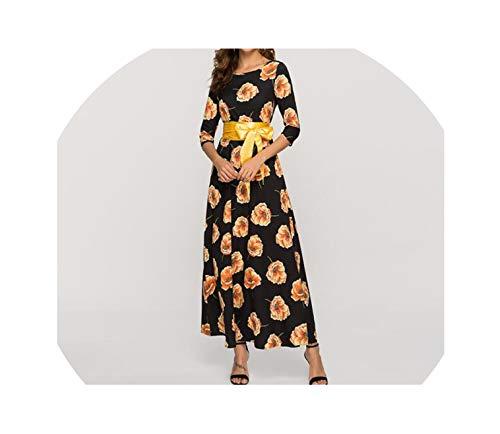 Utensil-Shop Dresses Loose Style Printing Women Long Dress Floral Printed Party Women Bohemian Retro Dress,Black,S]()