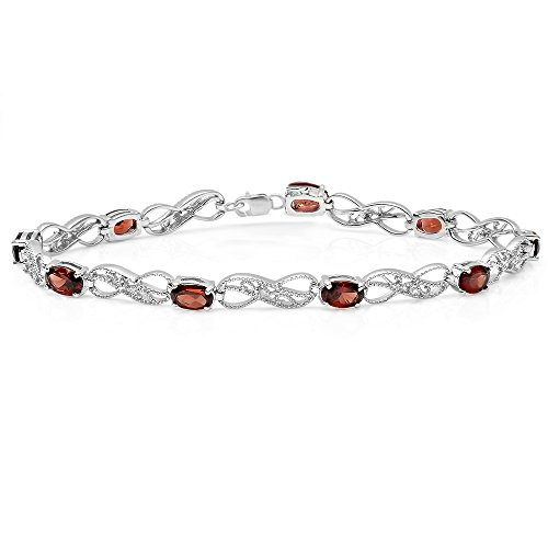 (Dazzlingrock Collection Sterling Silver Real Oval Cut Garnet & Round Cut White Diamond Ladies Infinity Link Tennis Bracelet)
