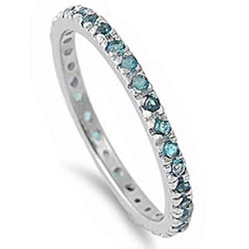 (Sterling Silver Stackable Aquamarine Cubic Zirconia Eternity Band Ring (Size 2-12) )