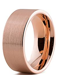 Tungsten Wedding Band Ring 9mm for Men Women Comfort Fit 18K Rose Gold Plated Pipe Cut Flat Brushed Polished Lifetime Guarantee