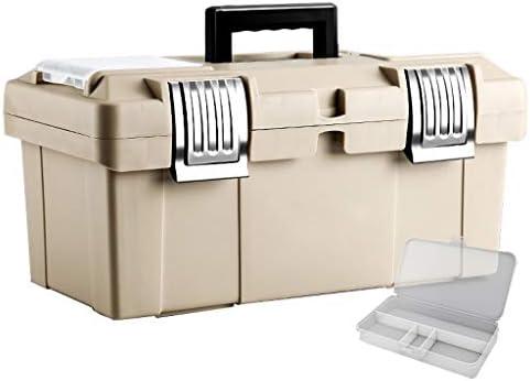 ツールオーガナイザー 携帯用手動道具箱ステンレス鋼ロックおよびバックル携帯用道具収納箱およびプラスチック部品箱 ポータブルツールボックス (Color : Beige, サイズ : M)