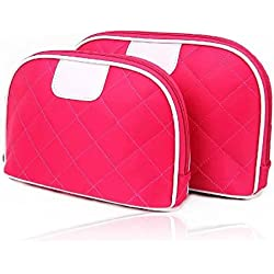 Brendacosmetic 2 Pcs Women Quilted Nylon Travel Case Cosmetic Bag Set ,Lovely Essential Travel bag Wash bag Organize Bag Makeup Bag with Large capacity