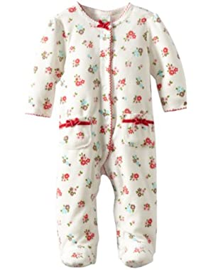 Baby-Girls Newborn Fall Bouquet Velour Footie
