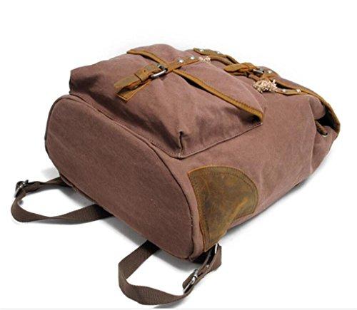 SHFANG Bolso doble de la lona del bolso de hombro de la universidad del recorrido del ocio de la universidad del morral que hace compras el desgaste Cuatro colores 33 * 15 * 50cm 1KG , brown brown