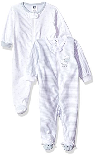 Gerber Baby Girls 2 Pack Zip Front Sleep 'n Play, Lil' Lamb, 3-6 Months (Play Baby Clothes)