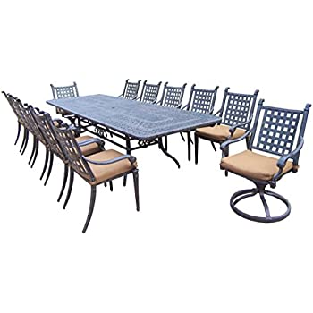 Oakland Living Belmont 13 Piece Expandable Dining Table Set With Sunbrella  Cushions, 46 By