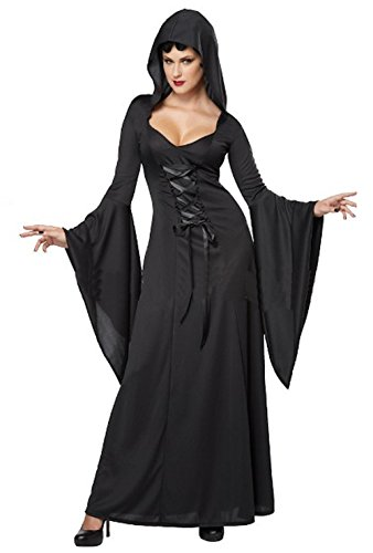 [Cohaco Women's Elegant Witch Costume (Black/Black)] (Womens Deluxe Hooded Robe Costumes)