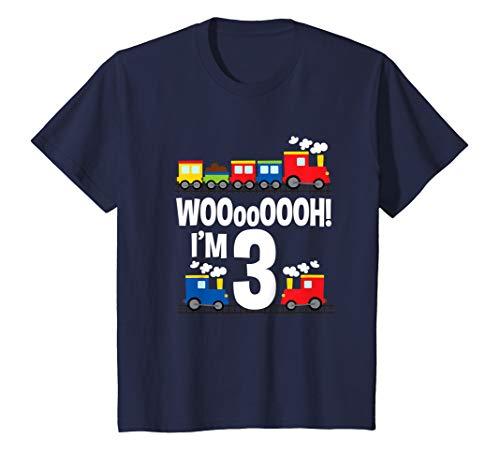 Kids Boys WOOooOOOH! I'm 3 Trains Birthday T-Shirt for Toddlers