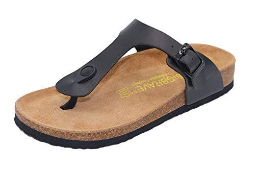 (Elcssuy Girls Women's Adjustable Flat Slides Thong Cork Sandals Open Toe Double Buckle Footbed Summer Shoes Jblack35)