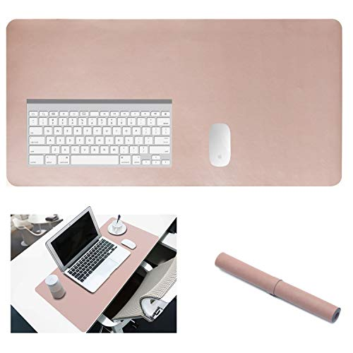 Yikda Extended Leather Gaming Mouse Pad/Mat, Large Office Writing Desk Computer Leather Mat Mousepad,Waterproof,Ultra Thin 1.2mm - 31.5x15.7 (Pink)