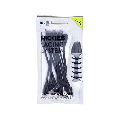HICKIES Kids Elastic No Tie Shoelaces - Black (Pack Of 10 HICKIES Laces, Works In All Sneakers)