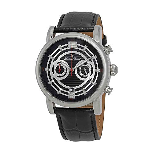 Lucien Piccard Men's LP-14084-01 Stainless Steel Watch with Black Leather Band ()